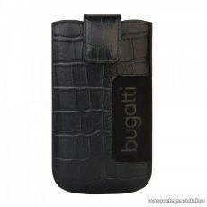 Bugatti SlimCase Croco black, fekete színű álló bőrmobiltelefon tok, 73 x 122 mm (07757)
