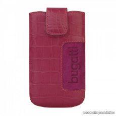 Bugatti SlimCase Croco pink, rózsaszín álló bőrmobiltelefon tok, 73 x 122 mm (07756)