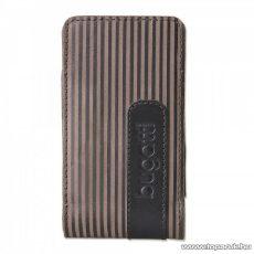 Bugatti Twin striped Leather S nemes borjúbőrből készült, álló mobiltelefon tok, 51 x 108 mm (07731)