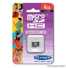 Integral Micro SDHC memóriakártya, 4GB - megszűnt termék: 2014. július