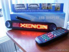 LED-es üzenőfal futófény autóba, vezeték nélküli távirányítóval, slim verzió, 12V