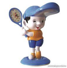 Horoz HL047 BLUE Asztali lámpa, beépített analóg ébresztőórával, kék sapkás teniszező kisfiú design