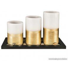 HOME CDW 3 fém hatású LED-es viaszgyertya szett fa tálcával, dekorgyöngyökkel