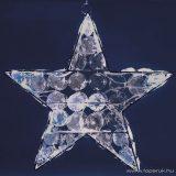 HOME KID 705 Beltéri LED-es akril csillag dekoráció, 24 db hideg fehér fényű leddel