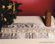 HOME KLT 10/GY Beltéri LED-es asztalterítő (futó) dekoráció, 30 x 110 cm, világosszürke anyag