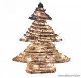 HOME 471207 Beltéri rattan világító karácsonyfa, 20 db melegfehér LED-del