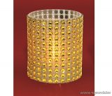 HOME CD 6/YE Beltéri SÁRGA színű elemes LED-es gyönygydekorációs mécses, sárga színű pislákoló fényjáték