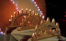 HOME KAD 21 Betlehem mintás gyertyaív, faragott fa, fehér - készlethiány