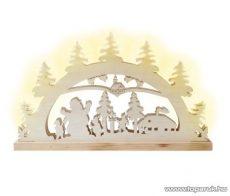 HOME KAD 23 Téli táj mintás gyertyaív, faragott fa, fehér világítás - készlethiány