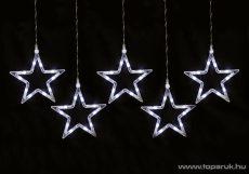 HOME KAF 5/10L Beltéri LED-es csillag fényfüzér, 5 db 19 cm-es csillag, hidegfehér - megszűnt termék: 2016. november
