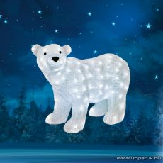 HOME KDA 6 Kültéri LED-es akril jegesmedve dekoráció, 120 db hideg fehér fénnyel világító leddel