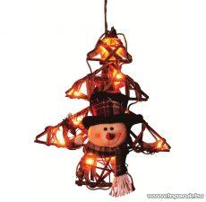 HOME KID 130/R Rattan világító dekoráció, fenyő forma, hóember figurával