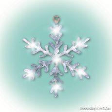 HOME KID 701 Beltéri LED-es akril ablakdísz, hókristály dekoráció, 16 db hideg fehér fényű leddel