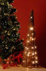 HOME KID 70/R Rattan világító gúla dísz, fehér, 60 cm - készlethiány