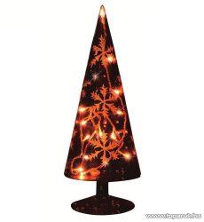 HOME KIG 33/GY Füstüveg gúla dísz, hópehely dekorációval, 23 cm - készlethiány