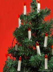 HOME KIR 16/RD Gyertyaizzós fényfüzér, 16 db piros festett üveg búrás izzóval - készlethiány