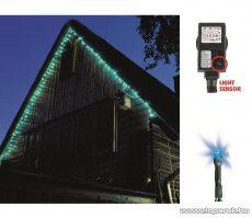 HOME KTL 108/BL Kültéri LED-es fényérzékelős fényfüzér, 100 db kék fényű leddel, 8 programos fényjátékkal