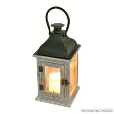 HOME LTN 7 Beltéri lámpás LED-es gyertyával, fa alapanyag üveggel + fém tető