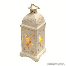 HOME LTN 8/A Beltéri lámpás LED-es gyertyával, fém anyagú, angyal mintás