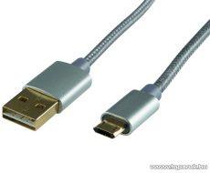 HOME USBP A/MICRO-1 Micro USB töltő kábel (masszív fém dugókkal), 1 m