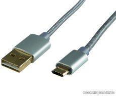 HOME USBP A/MICRO-3 Micro USB töltő kábel (masszív fém dugókkal), 3 m