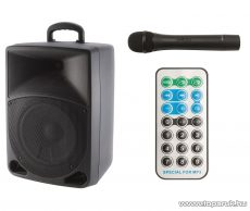 SAL PAB 20A ACTIVE LCD kijelzős multimédia hangdoboz akkumulátorral, kártyaolvasóval, mikrofonnal, karaoke szett, távirányítóval