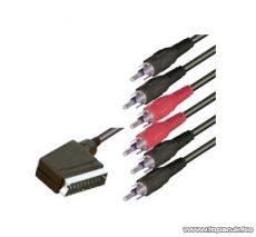 USE V 56X SCART / RCA kábel, 21 p. SCART dugó - 6 x RCA dugó, 1,5 m
