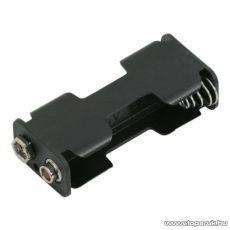 neXus Műanyag elemtartó, 2 db AA (ceruzaelemhez) 9V-os csatlakozással, 10 db / csomag (05343)