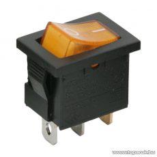 Billenő kapcsoló, 1 áramkör, 6A-250V, OFF-ON, sárga világítással, 5 db / csomag (09019SA)