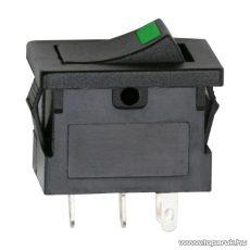 Billenő kapcsoló, 1 áramkör, 15A-12VDC, OFF-ON, zöld LED-el, 5 db / csomag (09027ZO)