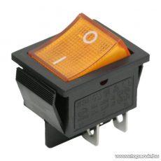 Billenő kapcsoló, 1 áramkör, 16A-250V, OFF-ON, sárga világítással, 5 db / csomag (09029SA)