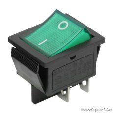Billenő kapcsoló, 1 áramkör, 16A-250V, OFF-ON, zöld világítással, 5 db / csomag (09029ZO)