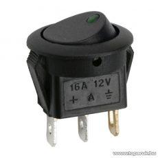 Billenő kapcsoló, 1 áramkör, 16A-12VDC, OFF-ON, zöld LED-el, 5 db / csomag (09042ZO)