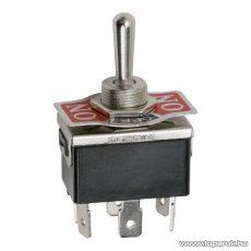 Karos kapcsoló, 2 áramkör, 10A-250V, ON-OFF-ON, előlappal, 5 db / csomag (09051)