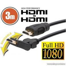 neXus Professzionális HDMI kábel, 3 m, hajlítható csatlakozóval, bliszterrel (20398) - megszűnt termék: 2015. november