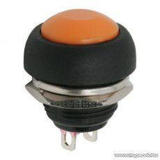 Nyomógomb, 1 áramkör, 1A-250V, OFF-(ON), narancssárga, 5 db / csomag (09044NA)