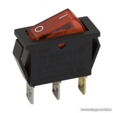 Billenő kapcsoló, 1 áramkör, 10A-250V, OFF-ON, piros világítással, 5 db / csomag (09050PI)