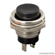 Nyomógomb, 1 áramkör, 2A-250V, OFF-(ON), fekete, 5 db / csomag (09065FK)