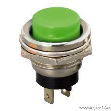 Nyomógomb, 1 áramkör, 2A-250V, OFF-(ON), zöld, 5 db / csomag (09065ZO)