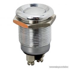 Nyomógomb, 1 áramkör, 2A-250V, OFF-(ON), fém, cseppálló (09078)