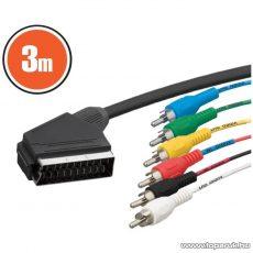 neXus SCART / RCA kábel, 21 p. SCART dugó - 6 x RCA dugó, 3,0 m (20125)