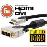 neXus Professzionális DVI-D / HDMI kábel, 5 m, aranyozott csatlakozóval, bliszterrel (20386)