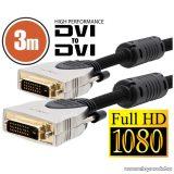 neXus Professzionális Dual-link DVI kábel, 3 m, aranyozott csatlakozóval, bliszterrel (20394)