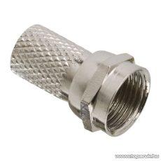 F dugó csatlakozó, RG6-os koax kábelhez, csavaros kivitel, prémium, 25 db / csomag (05200)