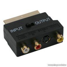 EURO / RCA átalakító, 3 RCA és S-VIDEO aljzat - EURO-SCART dugó, aranyozott (05178)