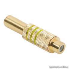 RCA aljzat, aranyozott, max. 6 mm-es kábelhez, sárga, 10 db / csomag (05086SA)