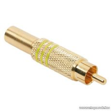 RCA dugó, aranyozott, max. 6 mm-es kábelhez, sárga, 10 db / csomag (05084SA)