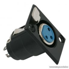 XLR aljzat csatlakozó, 3 pólusú, beépíthető, fekete, 5 db / csomag (05195)