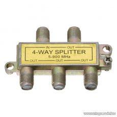 F splitter / F elosztó, 5-900 MHz, 1 bemenet, 4 kimenet, 5 db / csomag (05258)