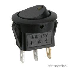 Billenő kapcsoló, 1 áramkör, 16A-12VDC, OFF-ON, sárga LED-el, 5 db / csomag (09042SA)